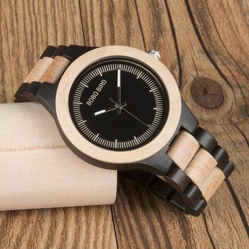 BOBO BIRD White Maple Wooden Watches Luxury Men Japan Move' Quartz Wristwatch with Wood Gift Watch Box
