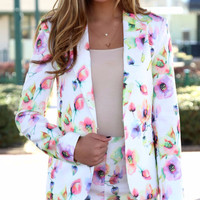 Turn Back Time Floral Blazer