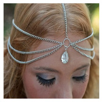 Bohemian Style Hair Accessories Hair Chain BandsJewelry Alloy Crystal Pendant Headbands Headwear Headdress (Size: One Size)