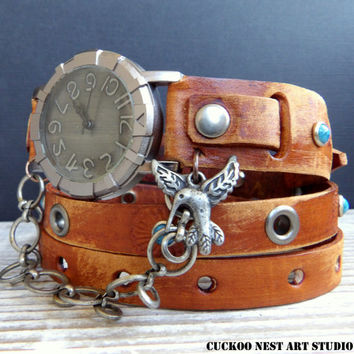 Women's leather watch, Leather Watch, Tobacco Brown Wrap around Watch, Ladies watch, Bracelet Watch, Unique jewelry