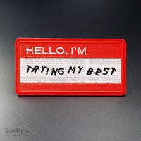 HELLO I'M (Size:5.2x10cm) Iron On Patches Badges Embroidered Applique Sewing Patch Clothes Stickers Garment Apparel Accessories