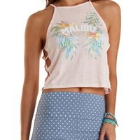 Floral Malibu Graphic Racer Tank Top by Charlotte Russe