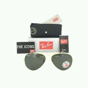 MDIG1O Ray Ban RB3025 001/58 58mm Polarized Green Lens Gold Aviator Sunglasses