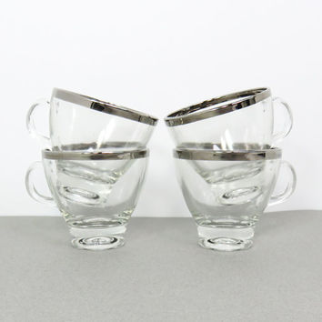 Mid Century Mad Men glass espresso cups with silver rim Dorothy Thorpe style espresso cups with silver trim