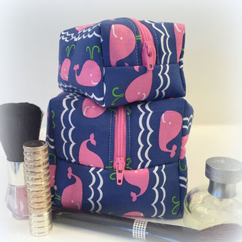 Pink And Navy Whale Makeup Bag Set, Mommy and Me Set, Monogram Available
