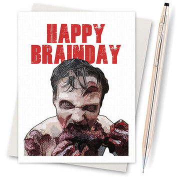 The Walking Dead Card - Zombie Birthday Card (Funny Birthday Cards. Happy Birthday Cards. Birthday Greeting Card. Birthday Gift. Funny Card)