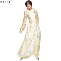 ZAFUL Woman Runway Dresses Spring Gorgeous Long Sleeve Silk Tulle Floral Embroidered Tunic Maxi Female