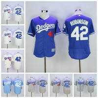 MLB Men 42 Jackie Robinson Jersey Vinatge Los Angeles LA Dodgers Baseball Jerseys Flexbase Cool Base Big & Tall Cooperstown Gray White Blue