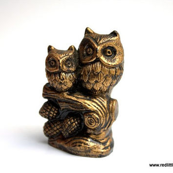 Bronze Looking  Small Vintage Two Owls Sitting on a Branch- Mother and Child, home decor, feng shui, desk accessories, collectors