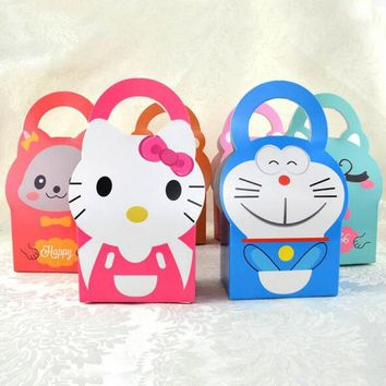 5pcs/set Minions Hello And Kitty Doraemon Cartoon Baby Shower Candy Box Chocolate Box Gift Box For Kids Birthday Party Supplies