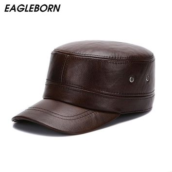 EAGLEBORN New Winter Genuine Leather Hats for Men Military Cap with Ear Flaps Army Sailor Captain Caps Dad Gift Hat