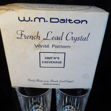 French Lead Crystal-W.M.Dalton-Verite Pattern- 24% Lead Crystal Beverage Glasses