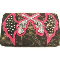 Cowgirl Soft Velvety Camo Revolver Guns w/ Angel Wings Flat Wallet Clutch Purse (pink)