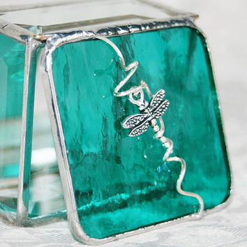 Stained Glass Jewelry Box Teal 2x2 Ring Box w/ by GaleazGlass
