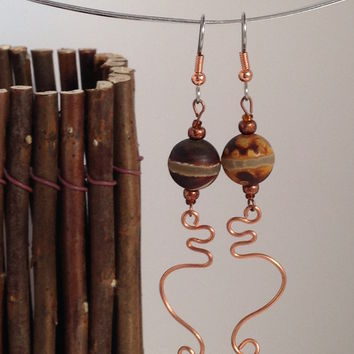 Rustic Etched Agate / Gemstone / Dangle Earrings / Handmade Lampwork Beads / BoHo / Ethnic Beads / Copper / Handmade Jewelry