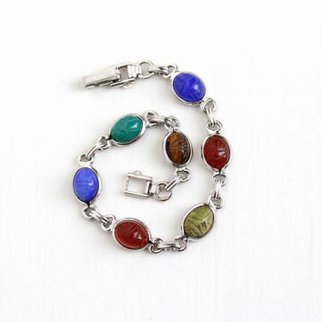 Vintage 10k White Gold Filled Top Scarab Bracelet - Retro Carved Beetle Bug Colorful Chalcedony Carnelian Dainty Egyptian Petite Jewelry