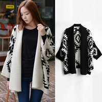 Geometric Pattern Knitted Shawl Collar Open Front Cardigan