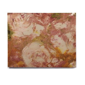 "Jeff Ferst ""White Roses"" Coral Pink Painting Birchwood Wall Art"