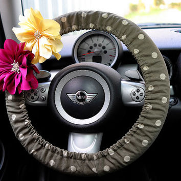 Car Steering wheel cover-Green Khaki Polka Dots with Chiffon Flower, Unique Automobile Accessories, Car Decor, Automobile Wheel cover