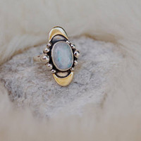 Double Crescent Rainbow Moonstone Ring // Sterling Silver with Brass Moons
