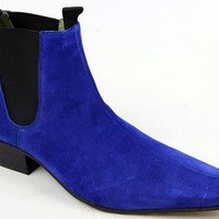 Handmade men Blue color pointed toe suede ankle boot with cuban heel, Men boots