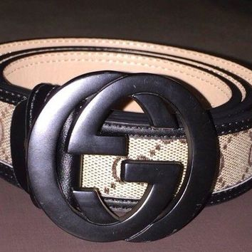 gucci belt Black Beige/brown Men's GG Belt GG Buckle Rare One Off
