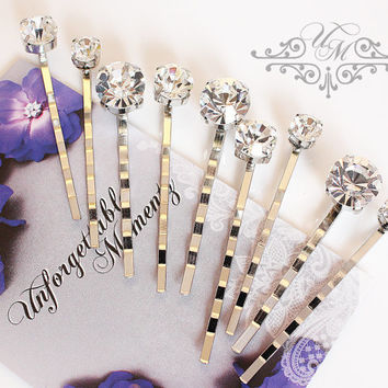 Set of 9 Czech Clear Crystal hair pins Wedding Hair pins Wedding hair Accessories Bridal Bridesmaids hair pins Czech Clear Crystal headpiece