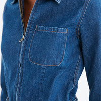 BDG Denim Zip-Front Coverall Romper   Urban Outfitters