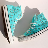 Aqua Blue Converse All Star Sneakers with Star and Rhinestone Studs - Studded Converse