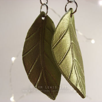 Green Leaf, Leather Earrings, Sparkly Green, Leaf Charm, Spring Jewelry, Gold and Green, Glitter Charm, Spring Leaf, Forest Jewelry