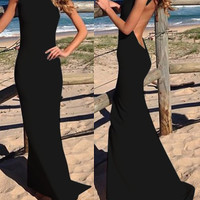 Jewel Neck Backless Black Mermaid Dress