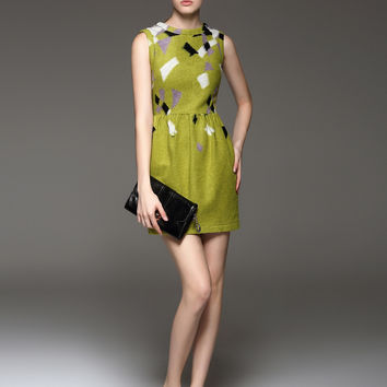 FANTIOW Jacquard Geometric Pleated Dress