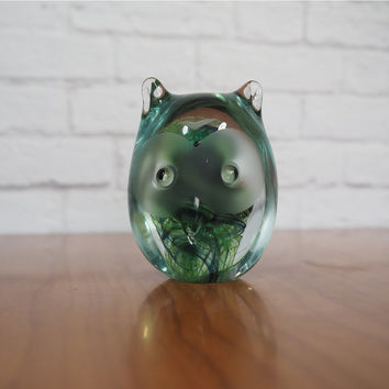 Vintage Kerry Glass Owl Paperweight Green and Blue Swirl Glass Hand Blown Hand Made Ireland