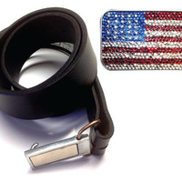 Rhinestone USA Flag Interchangeable Magnetic Buckle, Magnetic Base and Black Leather Belt Complete Set, Belt Buckle Combo