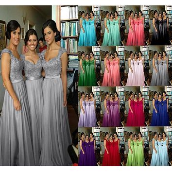 5014 lace  two shoulder hot pink purple black red royal colored chiffon long party bridemaids bridesmaid dress