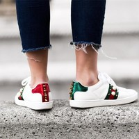 Gucci Ace Rivet shape Studded Leather Sneaker
