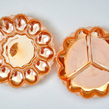 Vintage Fire King Egg Plate and Relish Tray, Peach Luster, Anchor Hocking, Divided Plate, Serving Plate, Deviled Egg Server