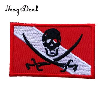 MagiDeal Diver Down Flag Patch Backpack Badge Embroidered Iron On Scuba Diving Skull Pirate Emblem Souvenir