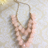 Pink Necklace - Statement Necklace - Light Pink Necklace - Two Tier Necklace - Teardrop Necklace - Pink Statement Necklace