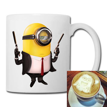 minions and guns mug coffee, mug tea, size 8,2 x 9,5 cm