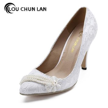 LOUCHUNLAN Women Pumps Shoes Lace  pearls Wedding Shoes Pointed Toe Bride high-heeled shoes Elegant shoes 605 Drop Shipping