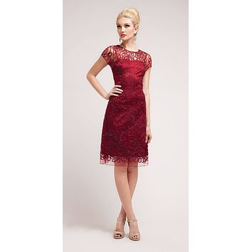 Semi Formal Knee Length Lace Burgundy Dress Short Sleeve
