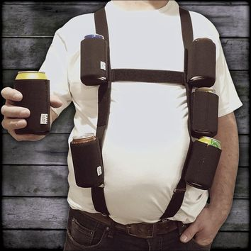 "Six Pack Suspenders with 6 Detachable ""Classic Black"" 12oz. Can Coolies"