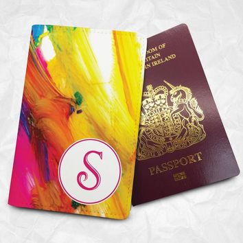 Watercolour-pattern Personalised Custom Name Passport Cover Passport Holder with FREE Name Printing (BBS058)