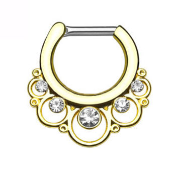 Floral Round with Gems IP Septum Clicker