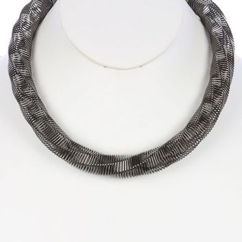 Twisted Coil Wire Spring Bib Necklace