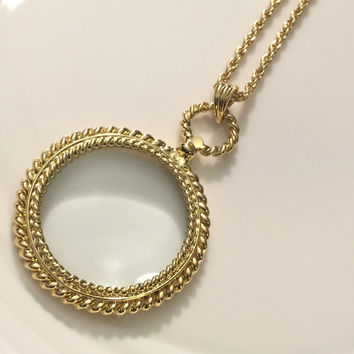 Gold Magnifying Glass, Magnifying Glass Necklace, Magnify Glass Necklace, Magnifying Glass, Magnify Glass, Glass Locket, Gift for Her