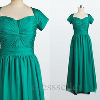 Custom Short Sleeves Long Green Chiffon Prom Dress Elegant Evening Gown Ruffle Party Dress Wedding Party Dress New Mother Dress Custom