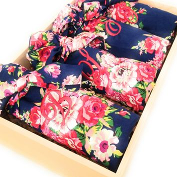 Navy Blue Floral Kimono Bridesmaid and Flower Girl Robes