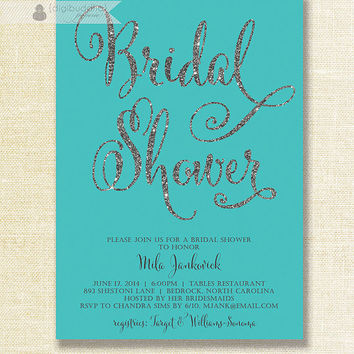 Tiffany Blue & Silver Glitter Bridal Shower Invitation Blue Teal Turquoise Wedding Hens Party Script Modern DIY Digital or Printed - Mila